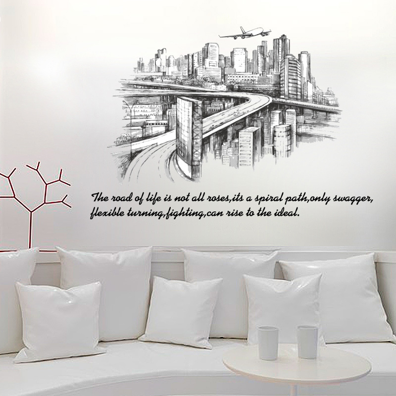 [Fundecor] Modern city sketch silhouette Wall Stickers diy home decor living room bedroom office art decals self adhesive film