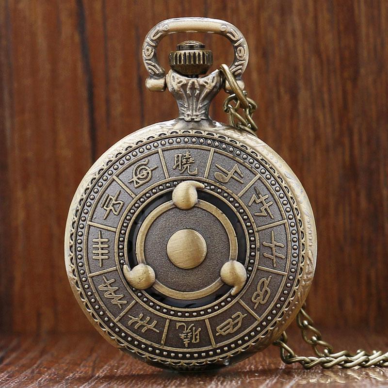 Men Watch Quartz Hollow Necklace Antique Style Anime Naruto Men Watch Sharingan Chain Half Hunter Clock Male Reloj De Bolsillo