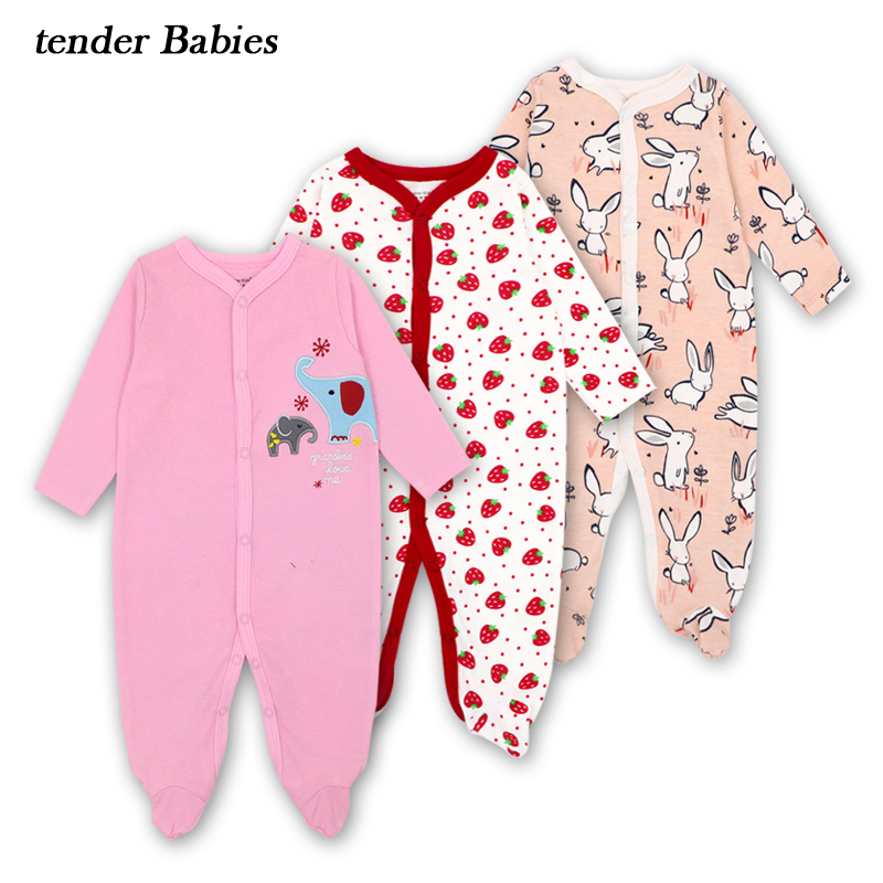 Baby girl Romper 100%Cotton Long Sleeved Coveralls Baby Rompers Newborns Boy Girl Clothing Autumn pink Jumpsuits 1pcs