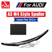 Fits For Audi A3 Sedan rear Trunk Spoiler wing M4 Style Highkick True Carbon Fiber A3 S3 Gloss Black Spoiler Extension wing 13+ все цены