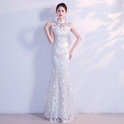 Weiß Floral Meerjungfrau Kleid Qipao Chinesischen Frauen Robe De Soiree Appliques Oversize 3xl Braut Hochzeit Kleider Vintage Cheongsam