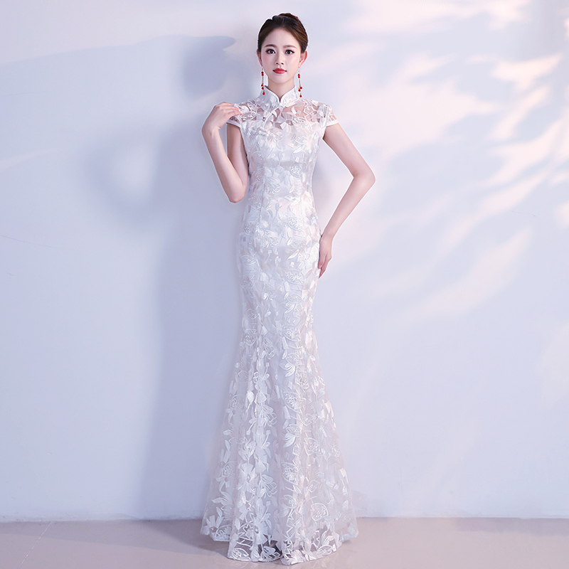 White Floral Mermaid Dress Qipao Chinese Women Robe De Soiree Appliques Oversize 3xl Bride Wedding Dresses Vintage Cheongsam