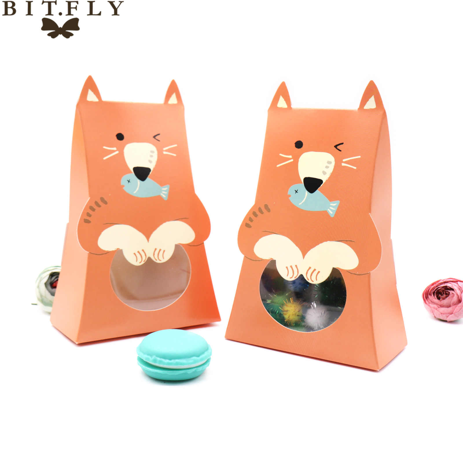 5 pçs dos desenhos animados coelho gato cão caixa de doces chocolate biscoito caixa de presente caixa de embalagem janela crianças favor chá de fraldas festa de aniversário fornecimento