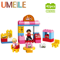 UMEILE Duplo Original Big Building Block City Girl Cake House Fruit Shop Policeman Farm Baby Toys