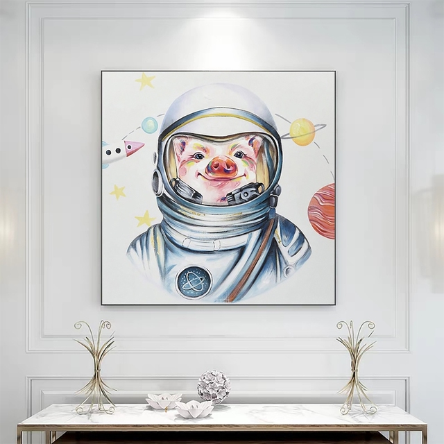 Laeacco Canvas Painting Calligraphy Mr Pig Astronaut Wall Art  Picture Posters Prints  Home Decoration Living Room Anime Poster