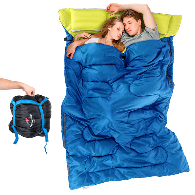 Naturehike Double Sleeping Bag Envelope Spring Autumn Family Camping Hiking Cotton Bags With Pillow