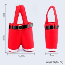 1 Pcs Merry Christmas Gift Treat Candy Wine Bottle Santa Pants Gift and Treat Bags with Handle Portable Candy  Gift Wrap
