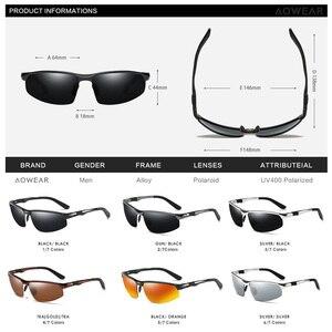 Image 5 - AOWEAR גברים של משקפי שמש ללא מסגרת גברים Porlarized באיכות גבוהה אלומיניום ספורט סגנון שמש משקפיים זכר חיצוני נהיגה משקפי Gafas