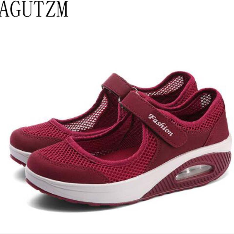 AGUTZM 2019 Summer  Women Flat Platform Shoes Woman Breathable Mesh Casual Shoes Moccasin Zapatos Mujer Ladies Boat Shoes W13 slip-on shoe