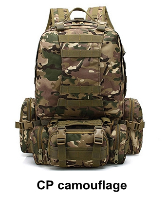 55L mountain climbing backpack combination double shoulder bag + waist bag + Sling Bag outdoor Tactical backpack CP camouflage local lion spo464 outdoor cycling climbing ultra light breathable double shoulder bag backpack red