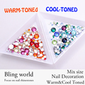 800pcs Warm-Toned And Cool-Toned Nail Art Flatback Rhinestones With Round Base For Clothes Shoes Nails Decoration And DIY Design