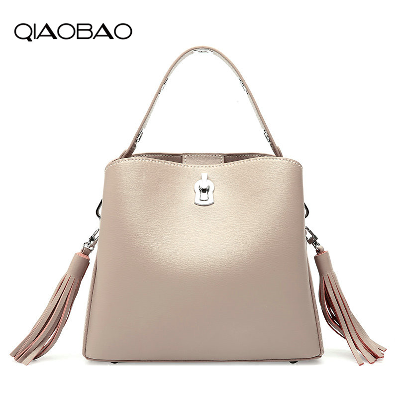 QIAOBAO 2018 new female bag European and American style tassel bucket bag female Cow leather Messenger shoulder bag wide straps