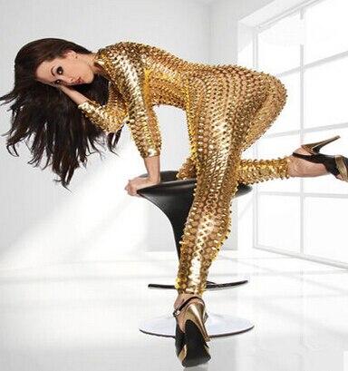 Женский черный серебряный золотой сексуальный полый певец хип-хоп в джазовом стиле для ночного клуба боди танцевальный костюм Рианны Сценические костюмы для певцов - Цвет: Gold