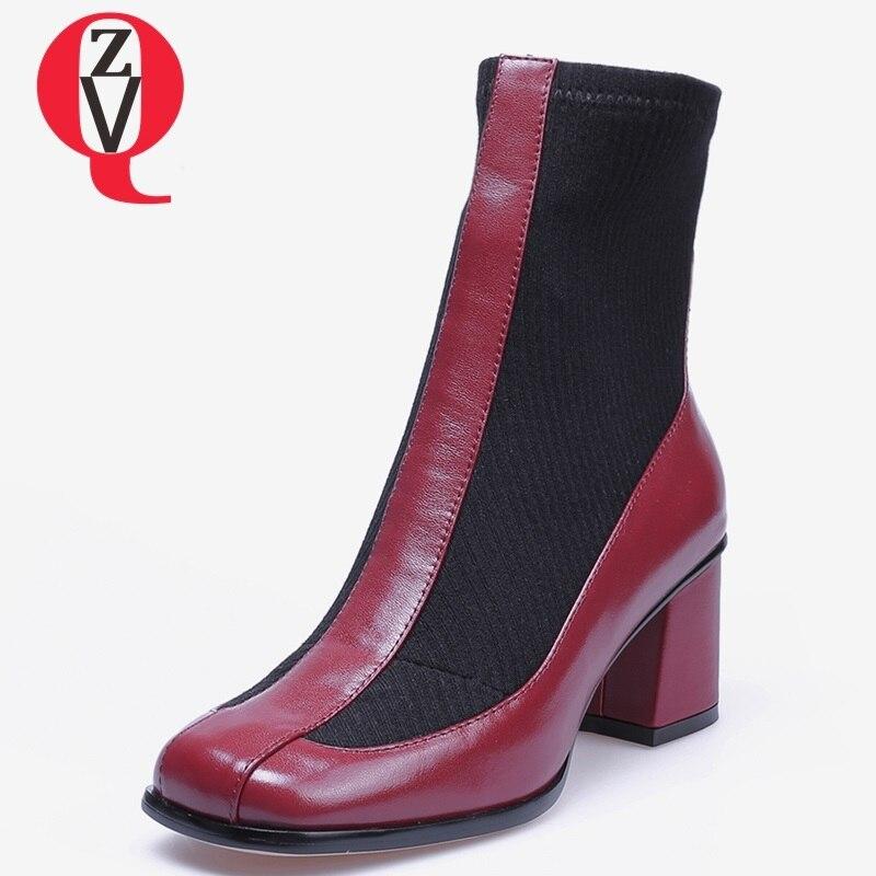 Slip Talon Gratuite Livraison Nouveau En Black Cuir Véritable Bout Hiver Chaud Zvq Bottines red on Femmes Haute Qualité Chaussures Carré 2018 Pour 6Z5xxSq