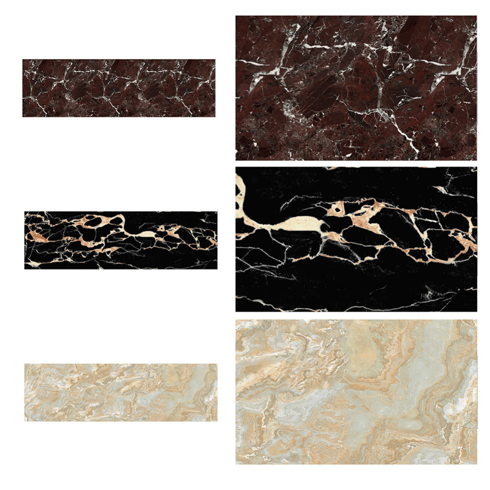 Retro 3D Imitation Marble Floor Tile Stickers Removable Wall Sticker ...