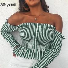 MayHall Autumn Stripe Shirt Slash Neck Ruffles Tops For Women Sexy Backless High Elastic roupa feminina MH179