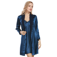 Women Satin Robe Gown Set 2017 Summer Ladies Faux Silk Nightdress Lace Bathrobe Sets Luxurious Sleep Lounge For Woman WP306