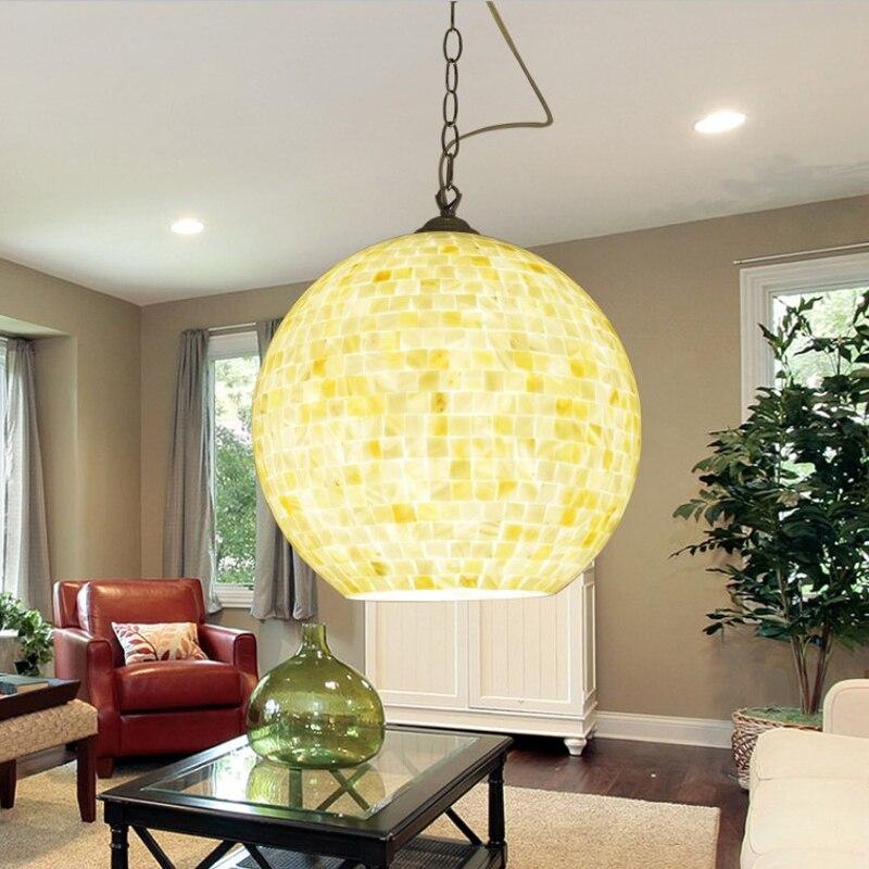Bohemia dining shell glass lamp shade aisle dining room single head pendant lamp study Restaurant