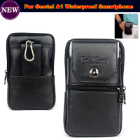 Original Genuine Leather Zipper Pouch Belt Clip Waist Purse Case Cover For Geotel A1 Waterproof Mobile