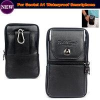 Original Genuine Leather Zipper Pouch Belt Clip Waist Purse Case Cover For Geotel A1 Waterproof Mobile
