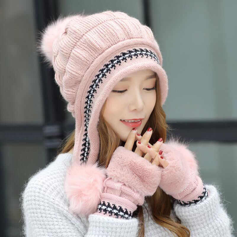 4f09dd9a ... SUOGRY Winter Hat Female Autumn and winter Fashion Women's Female Toe  Cap New Warm Gloves + ...