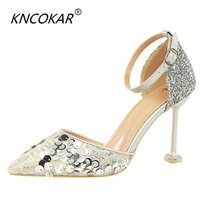 KNCOKAR 2018 Sexy thin hollowed out women's shoes with thin heels, high heels, light toes and hollow sequins34 40