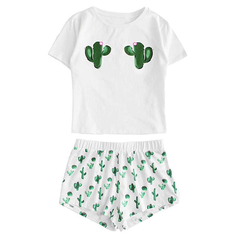 Women's Cactus Printed Pajamas Set Cotton Girls Casual Shorts Short Sleeve Ruffled T-Shirt Sleepwear Nightwear Set Pyjama Femme