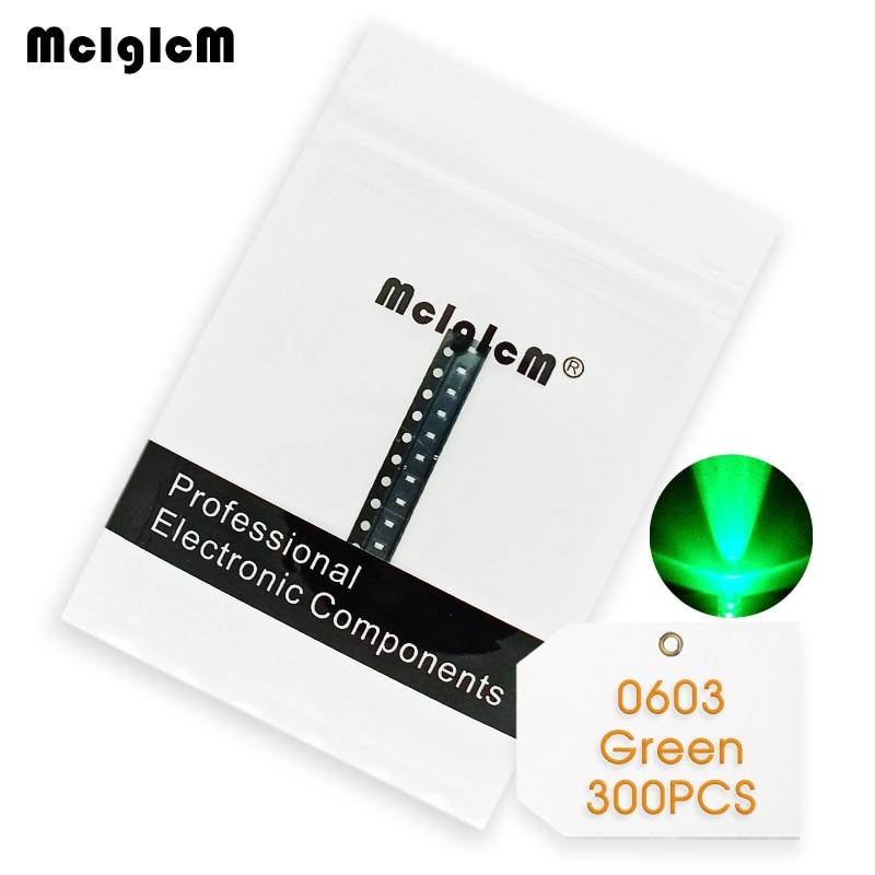 300pcs LED SMD Chip Diode Green 0603 (1608) 20mA LEDLight Emitting Diode Lamp 520 - 525nm SMT Bead Bulb Electronics Components