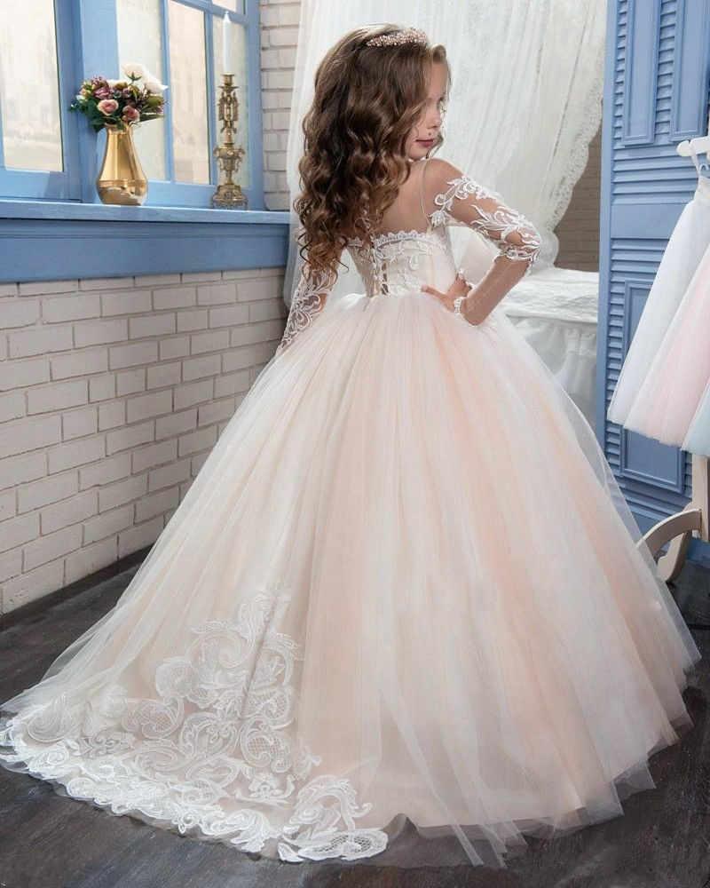 829ddadc500 ... Новый слоновой кости Пышное Платье с кружевными цветами для девочек на свадьбу  Одежда с длинным рукавом