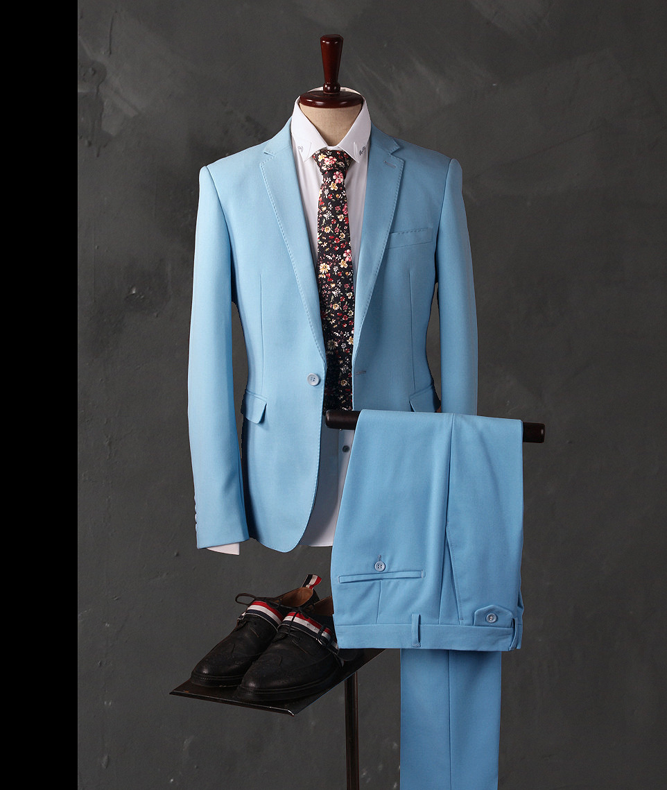 2018 Custom Made Light Blue Suit Men Tuxedo Slim Fit 3 Piece Groom ...
