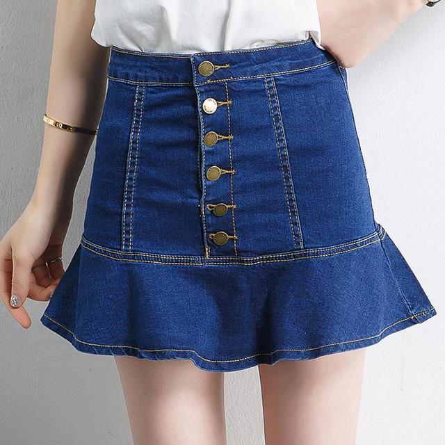 2017 New Fashion High Waisted Denim Skirt Female Waist Slim Denim Skirt Fold Fish Tail Short Mini Skirts Button