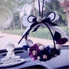 MR TEA Crystal Eternal Flower Car Hanging Ornament Car Rear View Mirror Pendant Romantic Women Auto