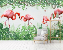 Купить с кэшбэком Beibehang Custom 12 photo Wallpaper Mural Hand Painted Watercolor style flamingo Plant Wall papel de parede wallpaper home decor