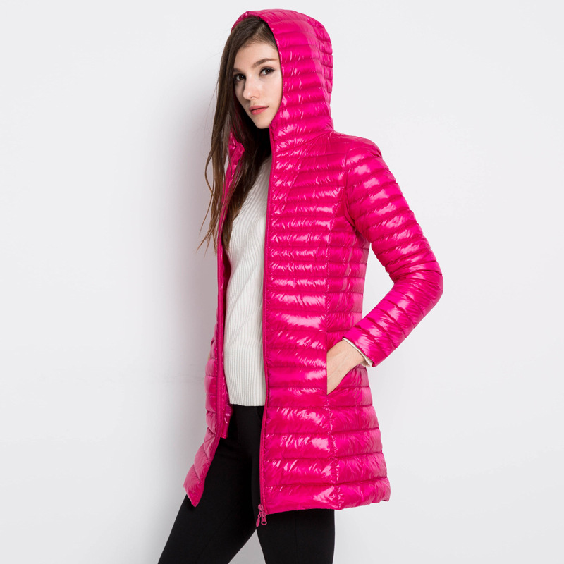 Whinte duck   down   Long   Down   Jacket Women Winter Hooded Jacket Ultra Light   Down     Coat   female pportable slim plus size   coat   QH1251