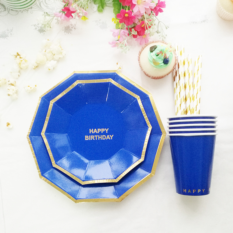 Navy Blue Tableware Set Plate Cup Straw Boy's 1st Birthday Decoration Paper Tableware 16 plates 8 cup 20 Gold Foil Stripe Straws