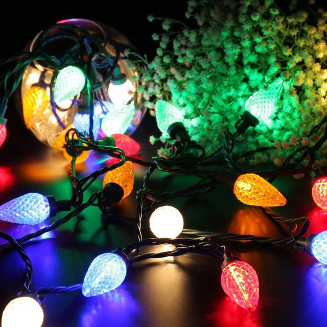 Faceted C9 LED Christmas Lights, 25 LED 16ft Fairy Decorative String Lights,  120V UL - Faceted C9 LED Christmas Lights, 25 LED 16ft Fairy Decorative String