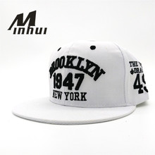 Minhui, новая мода, мужские бейсболки бейсбольные шапки, черные, белые, 1947, бруклинские буквы, вышивка, хип-хоп кепка, солнцезащитные шапки, кости для мужчин