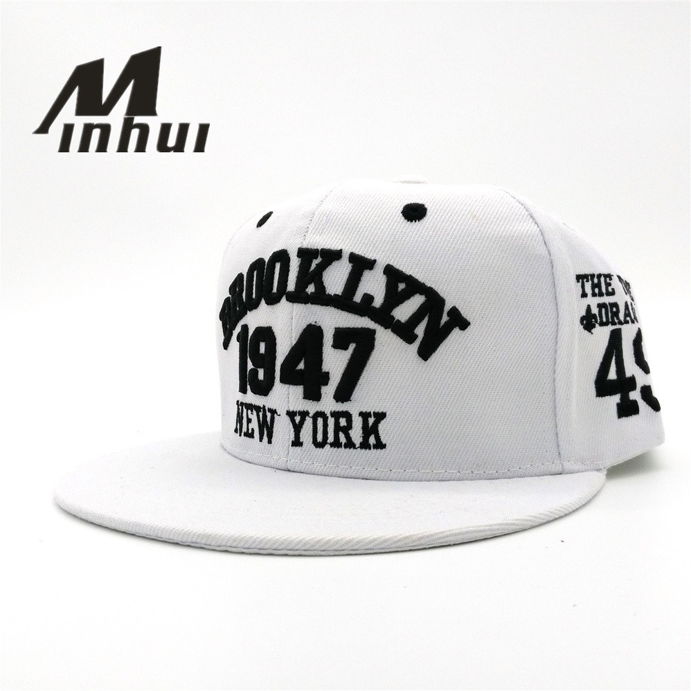 Minhui New Fashion Men's Snapbacks Baseball Caps Black White 1947 BROOKLYN Letters Embroidery Hip Hop Cap Sun Hats Bones For Men new 2017 fashion unisex cap bones baseball cap snapbacks hat simple hip hop cap casual sports female hats wholesale