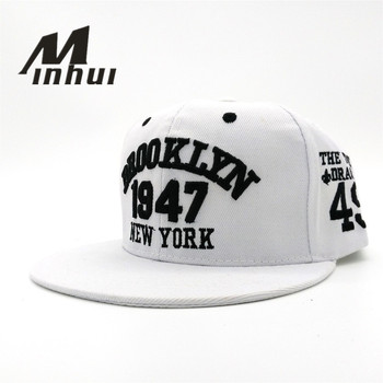 Minhui New Fashion Men s Snapbacks Baseball Caps Black White 1947 BROOKLYN  Letters Embroidery Hip Hop Cap Sun Hats Bones For Men 7f98554c589