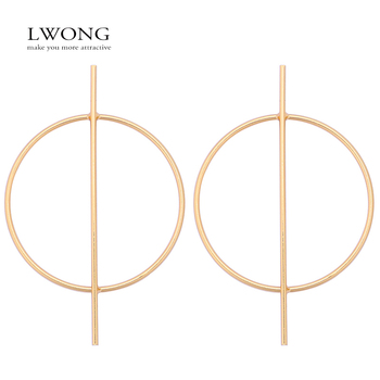 LWONG Fashion Gold Silver Color Big Circle Hoop Earrings for Women Geometrical Bar Circle Statement Earrings Minimalist Earrings earrings