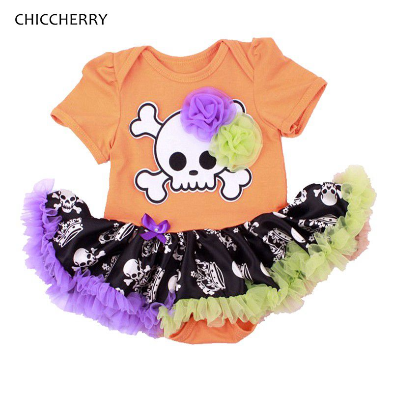Skull Baby Halloween Costume Baby Romper Dress Baby Girl Overall Wear Girls Jumpsuit Fantasia De Bebe New Born Infant-Clothing baby clothes christmas costume for baby infant party dress tutus newborn jumpsuit bebe romper baby girl clothing halloween gift
