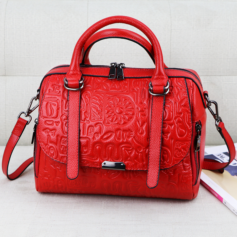 2018 Oracle Embossed Leather Women Boston Bag Fashion Unique Design Female Handbag Genuine Leather Ladies Shoulder Tote Bag oracle e business suite
