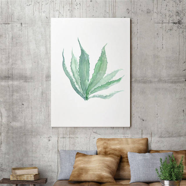 Agave Illustration Green Cactus Painting Watercolor Succulent Art Print Minimalist Wall Decor Living Room Plant Decoration