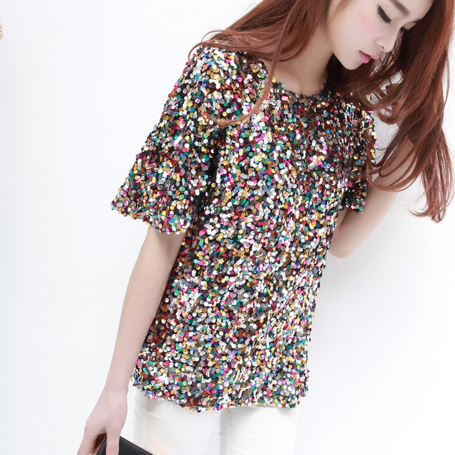 645e80d95f04 Summer O neck Short Sleeve Rainbow Colorful Bling Bling Shine Sequin Women Tee  Shirt Bar Party DS Sexy Costumes Top Shirts