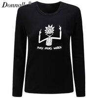 Donnalla Women T Shirt O Neck Long Sleeve Casual Cotton T Shirt Peace Among Worlds Print