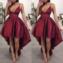 New Fashion Bridesmaid V Neck Women Formal Wine Red Backless Asymmetrical Dress