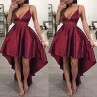 New Fashion Bridesmaid V Neck Women Formal Wine Red Backless Asymmetrical Dress Custom Women Elegant Clothing
