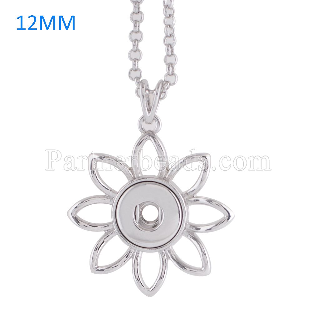 New Stainless Steel Snap Necklace For Women Classic Pendant Necklaces Fit DIY 12MM mini Snap Buttons Jewlery KS0949-S