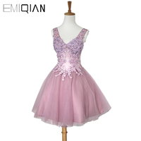 Freeshipping Tank V Neck Short Prom Dress Applique Lace Mini Cocktail Dress