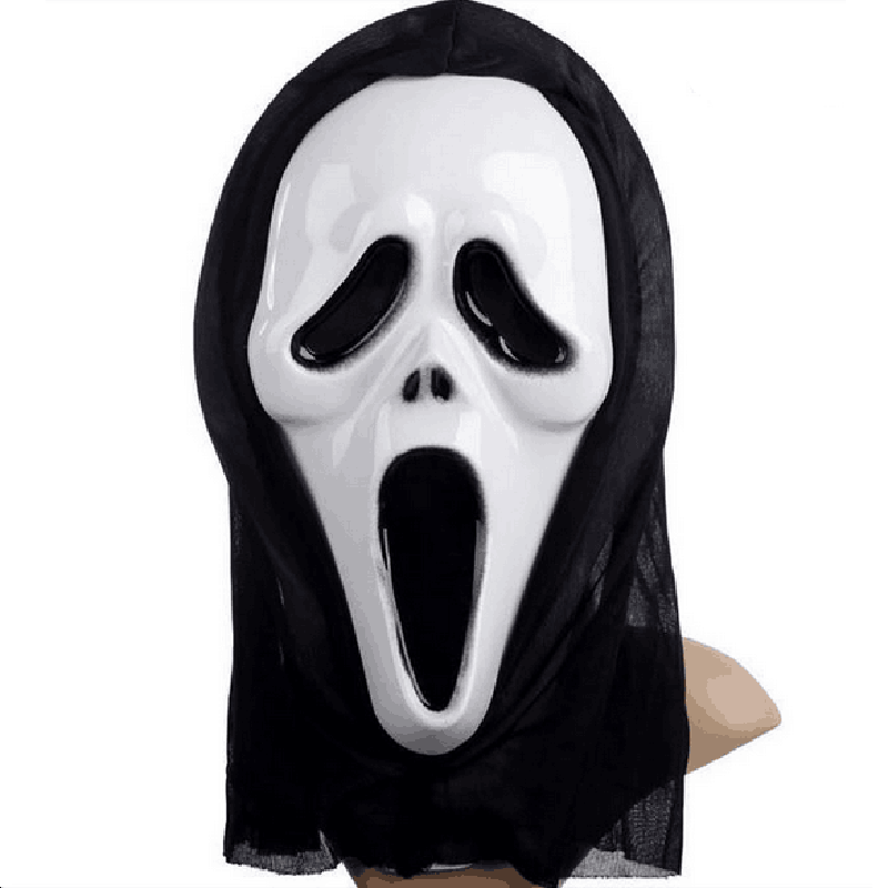 1Pc Scary Ghost Face Mask Scream Cosplay Black PVC Mask for ...